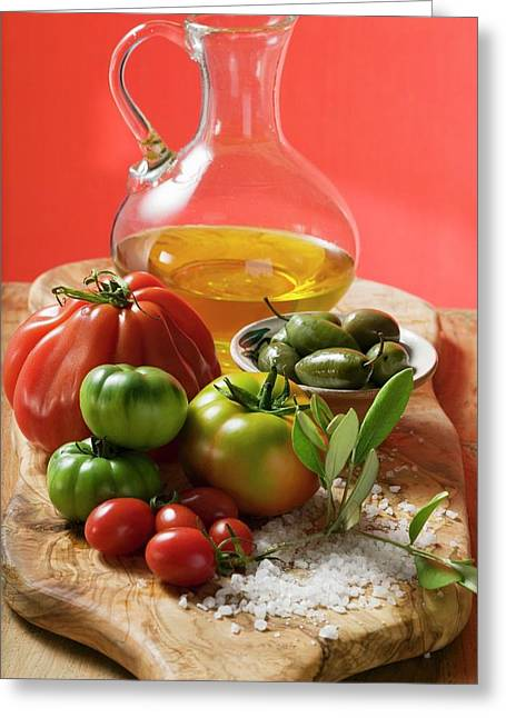 Fresh Tomatoes, Olives, Salt And Olive Oil Greeting Card