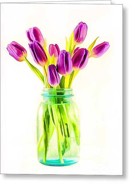 Fresh Tulips Greeting Card by Darren Fisher
