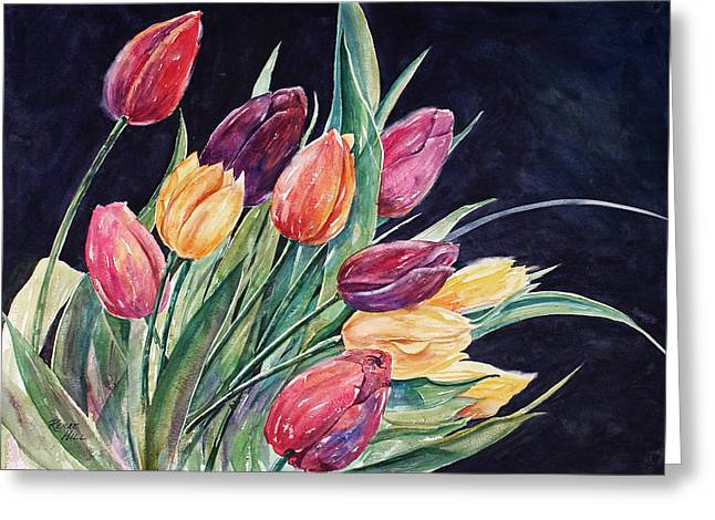 Greeting Card Featuring The Painting Fresh Tulips By Renae Hill