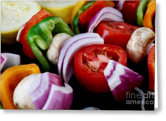 Fresh Veggie Kabobs On The Grill Greeting Card by Peggy Hughes