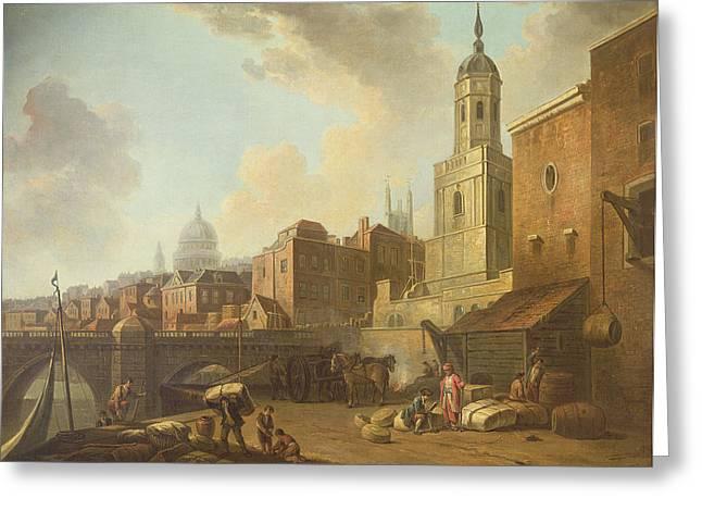 Fresh Wharf Near London Bridge, C.1762 Oil On Canvas Greeting Card by William Marlow