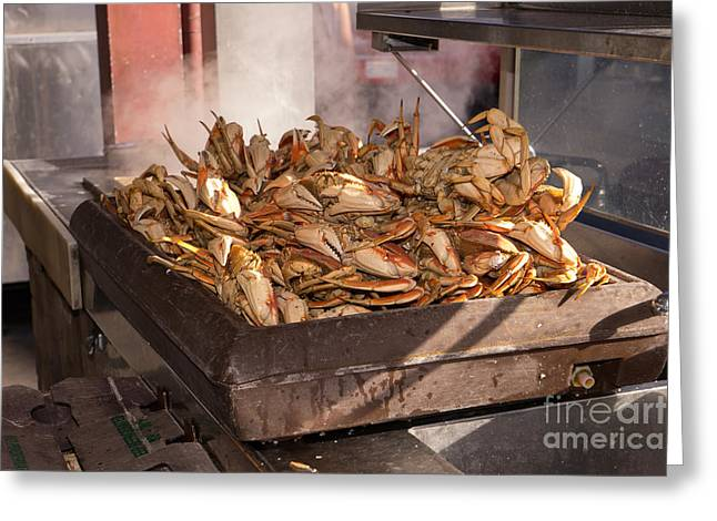 Freshly Cooked Dungeness Crabs At Fishermans Wharf San Francisco California Dsc2040 Greeting Card by Wingsdomain Art and Photography