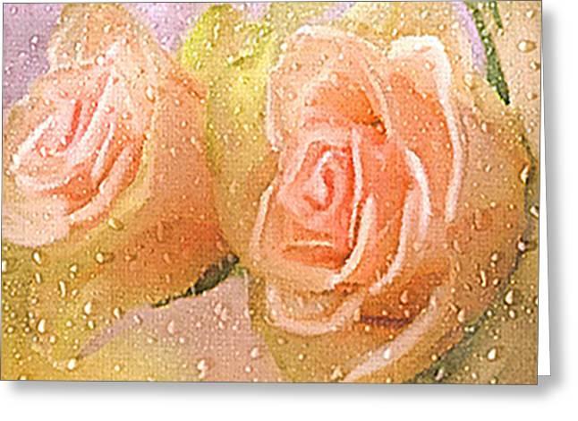 Freshly Watered Roses Greeting Card