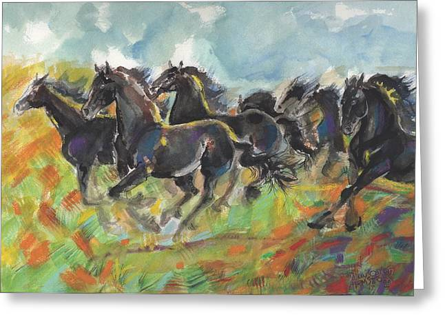 Fresian Glory Greeting Card by Mary Armstrong
