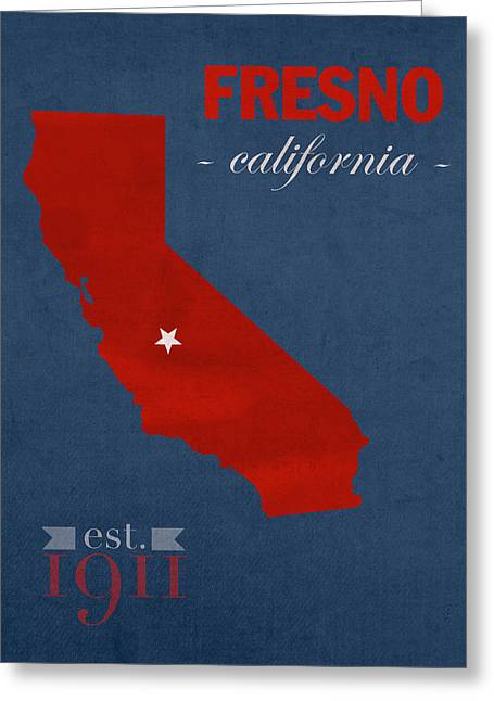 Fresno State University Bulldogs California College Town State Map Poster Series No 025 Greeting Card by Design Turnpike
