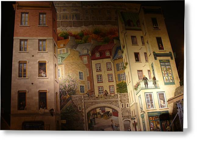 Fresque Des Quebecois At Night Greeting Card by Lingfai Leung