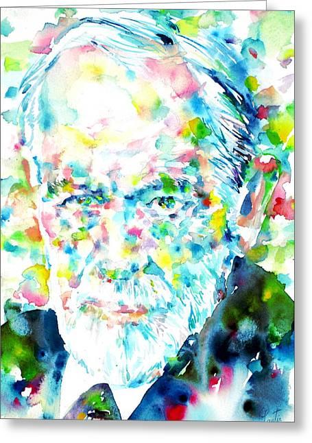 Sigmund Freud - Watercolor Portrait.1 Greeting Card