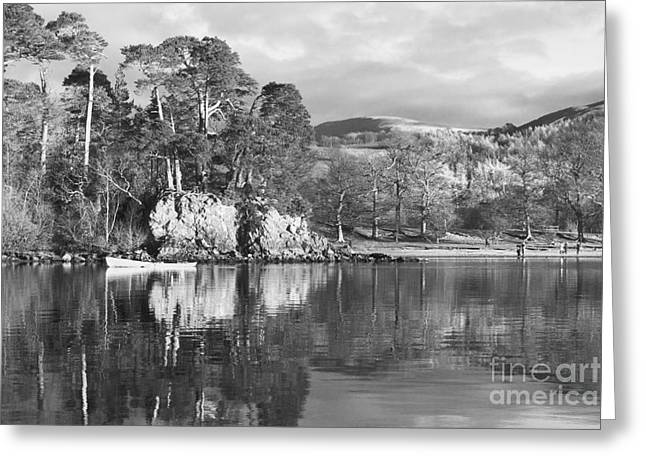 Friars Crag Black And White Greeting Card