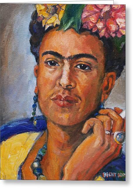 Frida Kahlo Greeting Card by Becky Kim