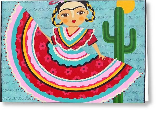 Frida Kahlo In Traditional Dress Greeting Card by LuLu Mypinkturtle