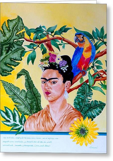 Frida Kahlo Greeting Card by Thomas Gronowski