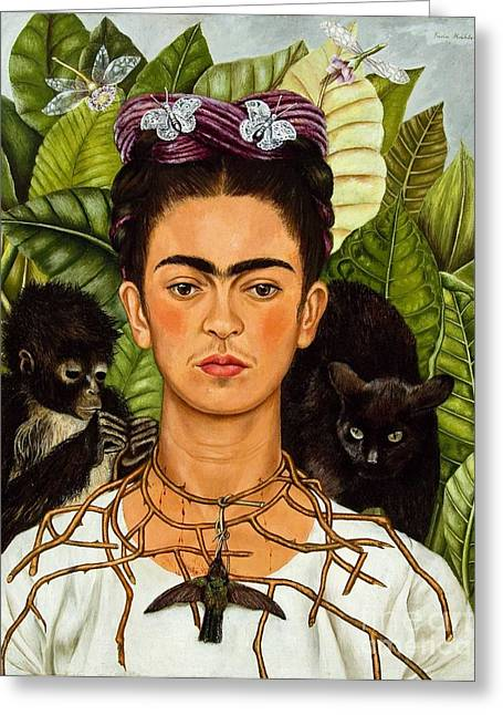 Frida Kahlo - Thorn Necklace And Hummingbird Greeting Card by Roberto Prusso