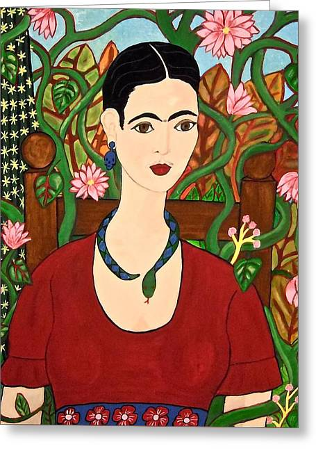 Frida With Vines Greeting Card