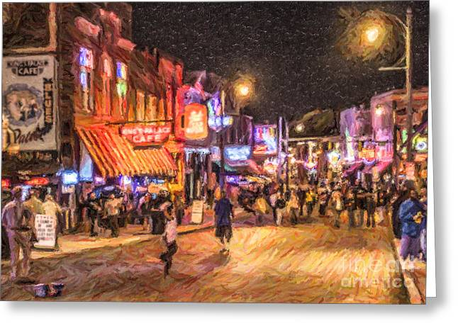 Friday Night On Beale Greeting Card