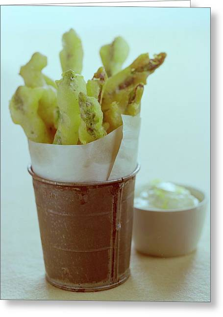 Fried Asparagus Greeting Card