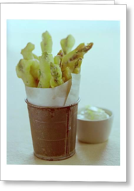 Fried Asparagus Greeting Card