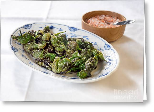 Fried Green Peppers Piemetos Verde As Tapas Greeting Card by Frank Bach