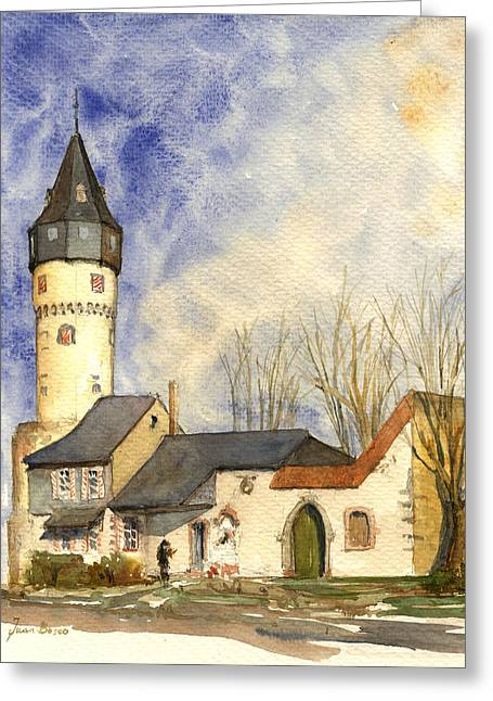 Friedberger Warte Frankfurt Greeting Card by Juan  Bosco
