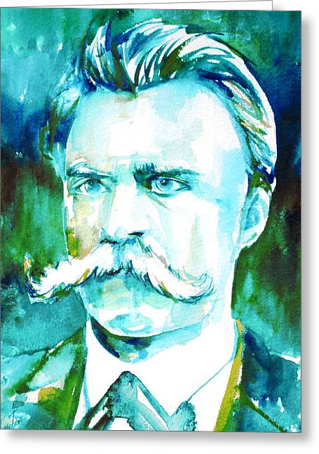 Friedrich Nietzsche Watercolor Portrait.1 Greeting Card by Fabrizio Cassetta