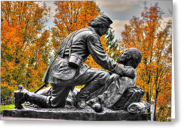 Friend To Friend - A Brotherhood Undivided - The Masonic Memorial At Gettysburg Close-2a Greeting Card