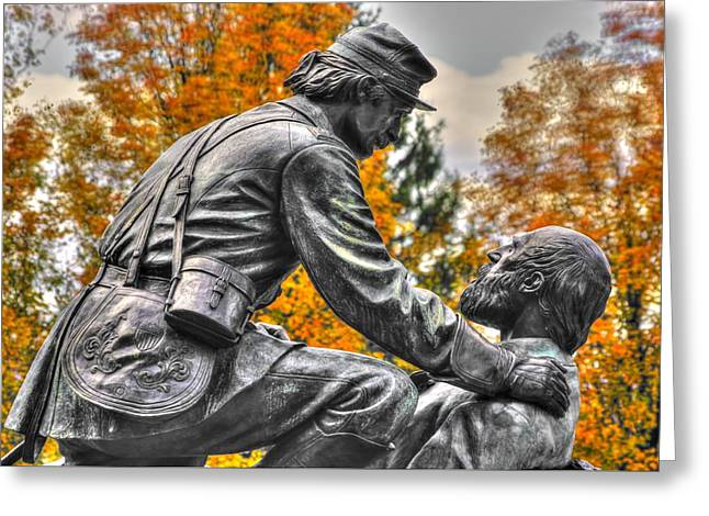 Friend To Friend - A Brotherhood Undivided - The Masonic Memorial At Gettysburg Close-2b Greeting Card