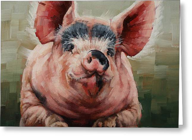 Friendly Pig Greeting Card by Margaret Stockdale