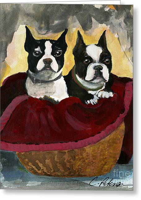 Friends.  A Pair Of Boston Terrier Dogs Snuggle In A Warm Basket. Greeting Card by Cathy Peterson