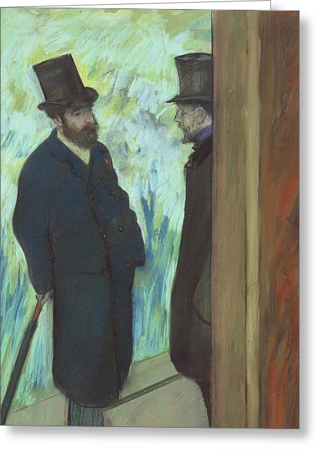 Friends At The Theater Greeting Card by Edgar Degas