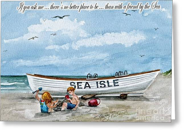 Friends By The Sea  Greeting Card by Nancy Patterson