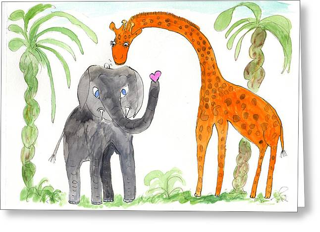Friends - Elephoot And Elliot Greeting Card by Helen Holden-Gladsky