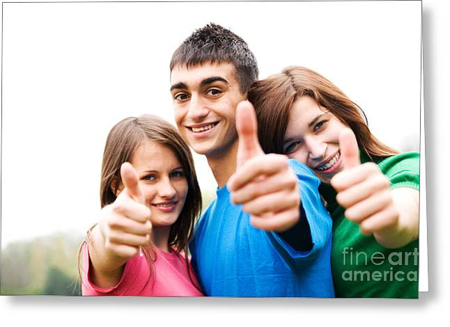 Friends Showing Thumb Up Sign Greeting Card by Michal Bednarek