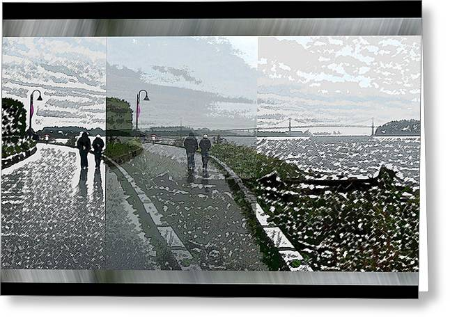 Friends Strolling To Lions Gate Bridge Greeting Card by Gretchen Wrede