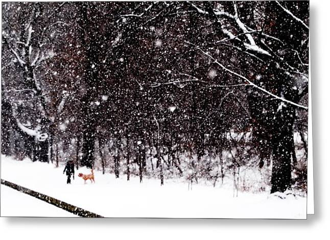 Friends Walk In Snowstorm - Montreal - Slim Horizontal Greeting Card by Jacqueline M Lewis