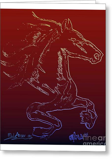 Friesian Sketch 1 Greeting Card by Mark Ansier