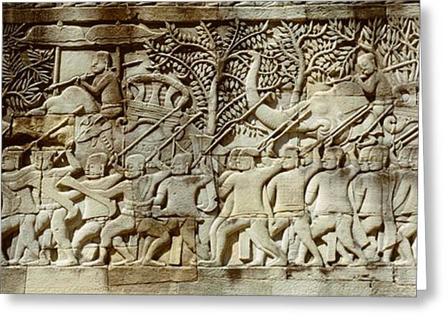 Frieze, Angkor Wat, Cambodia Greeting Card by Panoramic Images