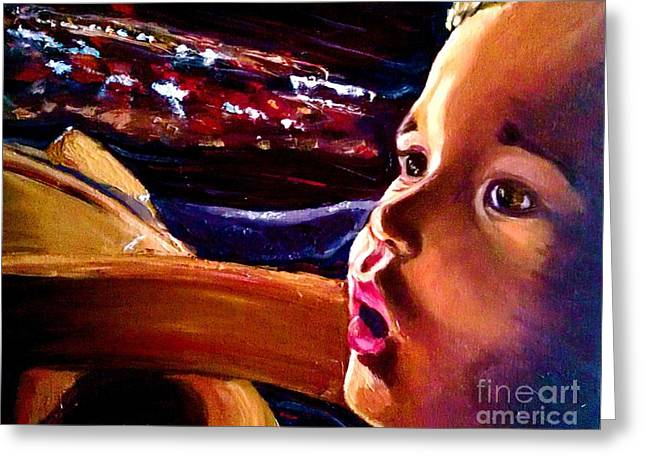 Greeting Card featuring the painting Fright Of Dumbo by D Renee Wilson