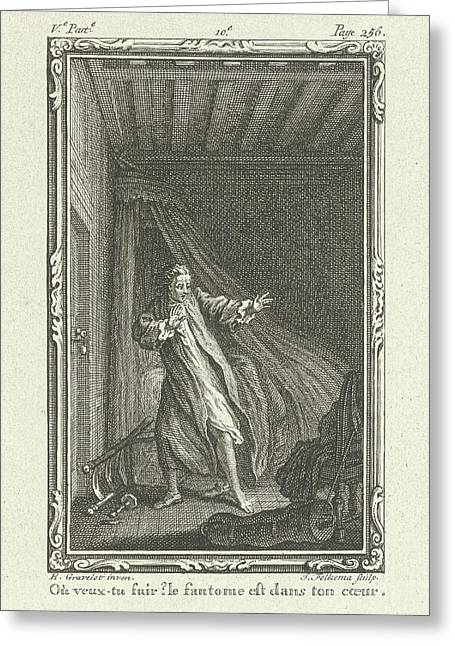 Frightened Man In A Bedroom, Jacob Folkema Greeting Card by Jacob Folkema