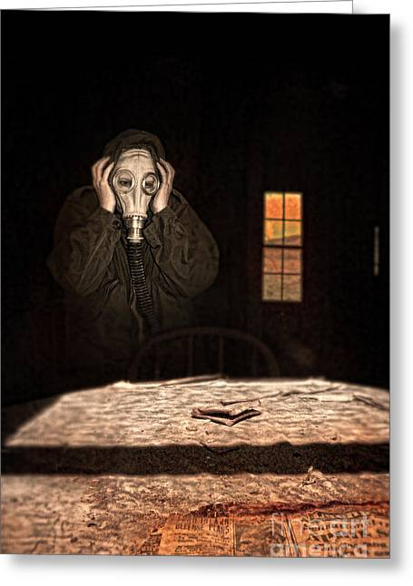 Frightened Person In Gas Mask Greeting Card
