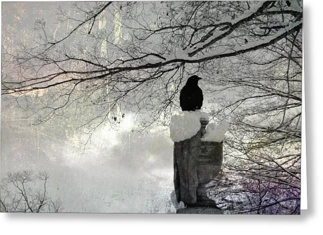 Black Crow On A Frigid Day Greeting Card by Gothicrow Images