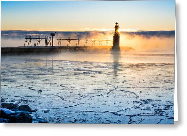 Frigid Sunrise Fog  Greeting Card