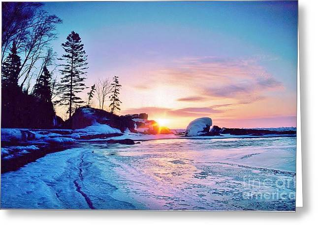 Temperence River Mouth Sunrise - Winter Greeting Card by Rory Cubel