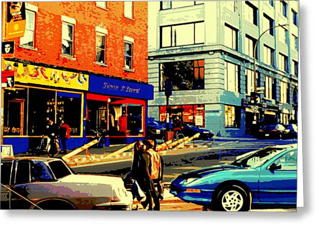 Friperie St.laurent Clothing Variety Dress Shop Downtown Corner Store City Scene Montreal Art Greeting Card by Carole Spandau
