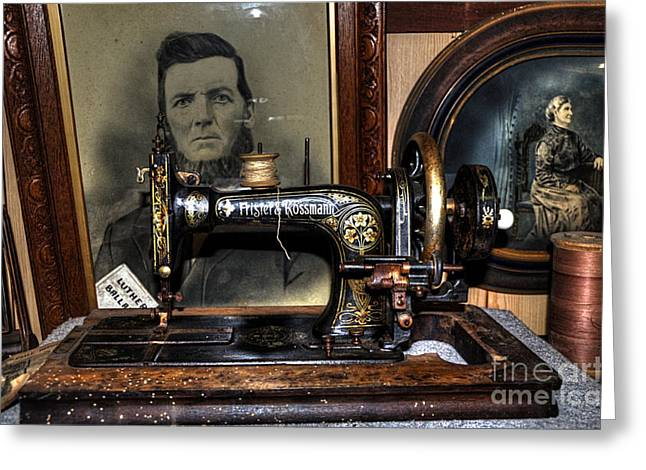 Frister And Rossmann - Old Sewing Machine Greeting Card by Kaye Menner