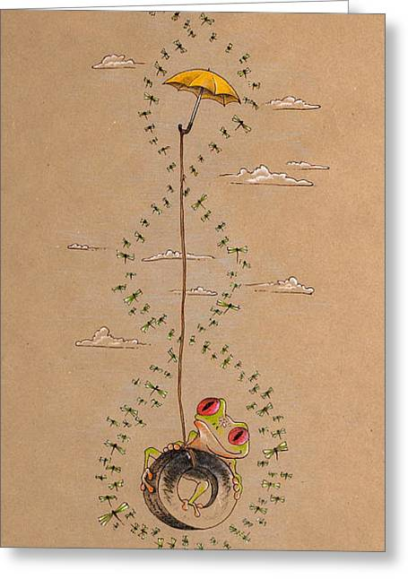 Frog And Dragonflies Greeting Card by David Breeding