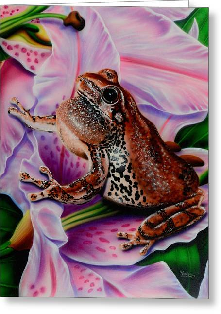 Frog Flower Greeting Card