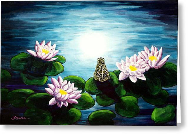 Frog In A Moonlit Pond Greeting Card by Laura Iverson