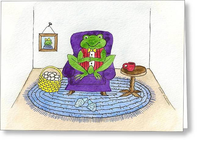 Frog In Purple Chair Greeting Card