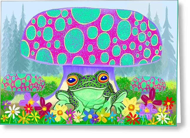 Frog Mushrooms And Flowers Greeting Card