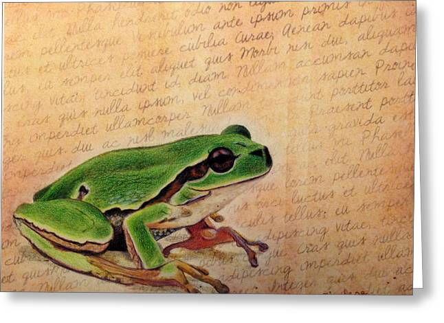 Frog On Paper Greeting Card