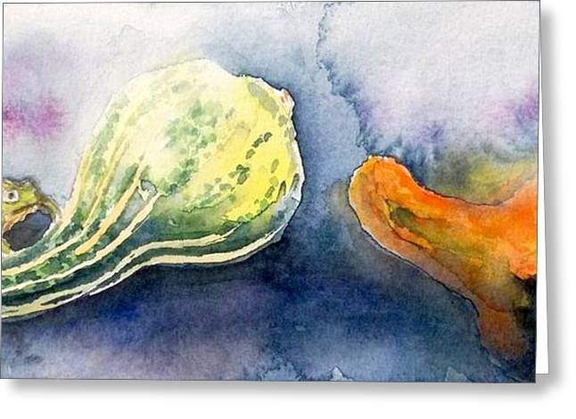 Froggy And Gourds Greeting Card by Yoshiko Mishina